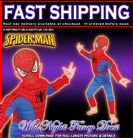 FANCY DRESS COSTUME ~ BOYS SPIDERMAN DELUXE MUSCLE CHEST SMALL AGE 3-4